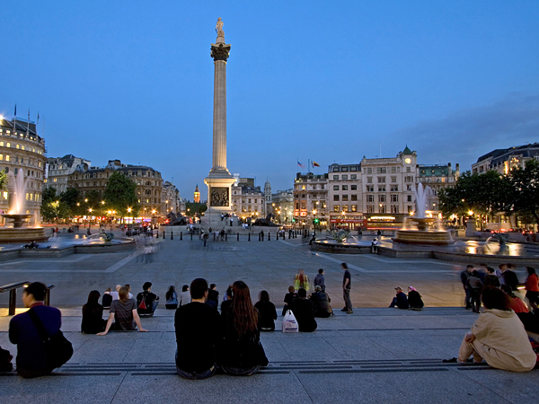 Photo: This was taken on a nice early summer night in Trafalgar Square.  Everything came together, the people were just enjoying being outdoors on a lovely eveing!