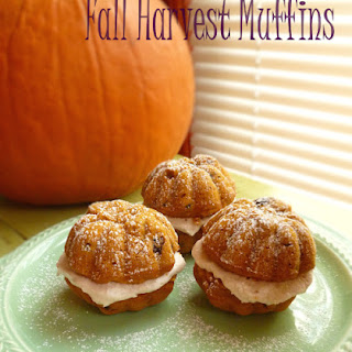 Pumpkin Apple Raisin Bran Muffins with Cinnamon Buttercream