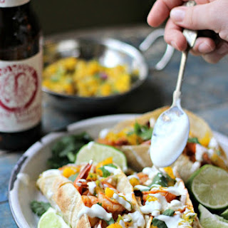 Smokey Shrimp Tacos with Chorizo Beans & Mango Salsa