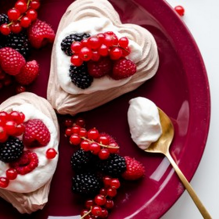 Chocolate Heart Meringue Cups with Whipped Cream and Berries Recipe ...