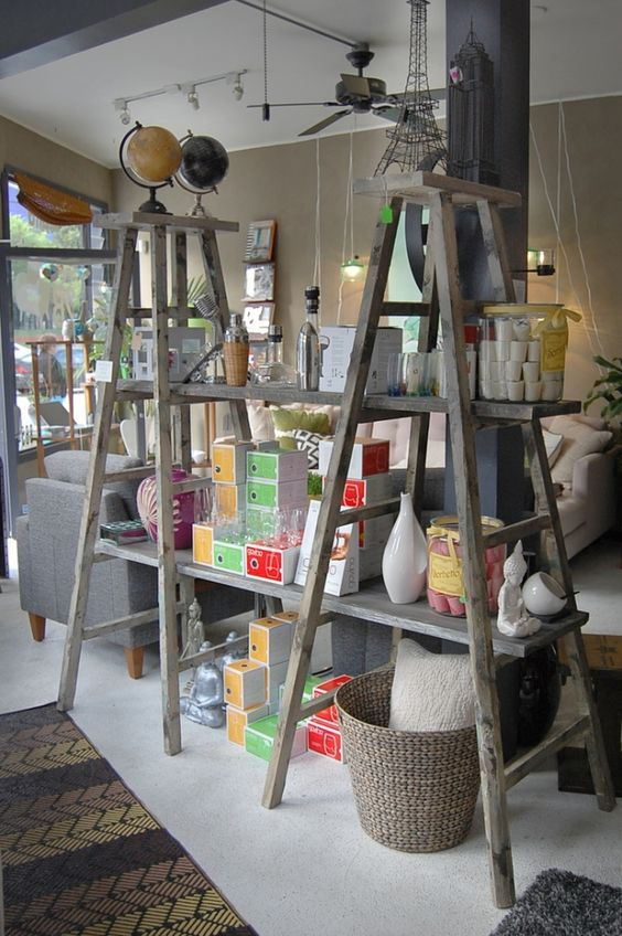 ladder shelf DIY Retail Display Ideas