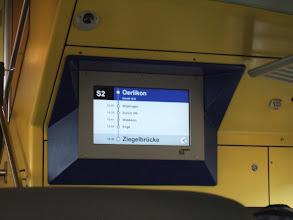 Photo: Еду в электричке (они там вместо метро). На экране - маршрут. Ты знаешь точное время прибытия (колонка слева), поэтому легко строить планы.