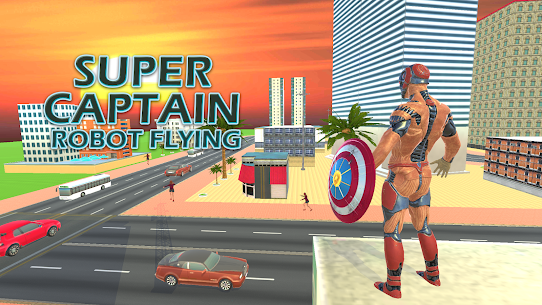 Superhero Captain Robot Flying Newyork City War 1