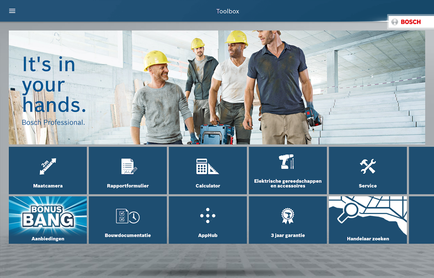 Bosch Toolbox: screenshot
