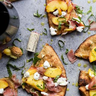 Grilled Prosciutto Peach Flatbread Pizza.