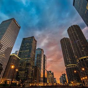 Buildings in the Sky by Jim Harmer - City,  Street & Park  Vistas ( chicago )