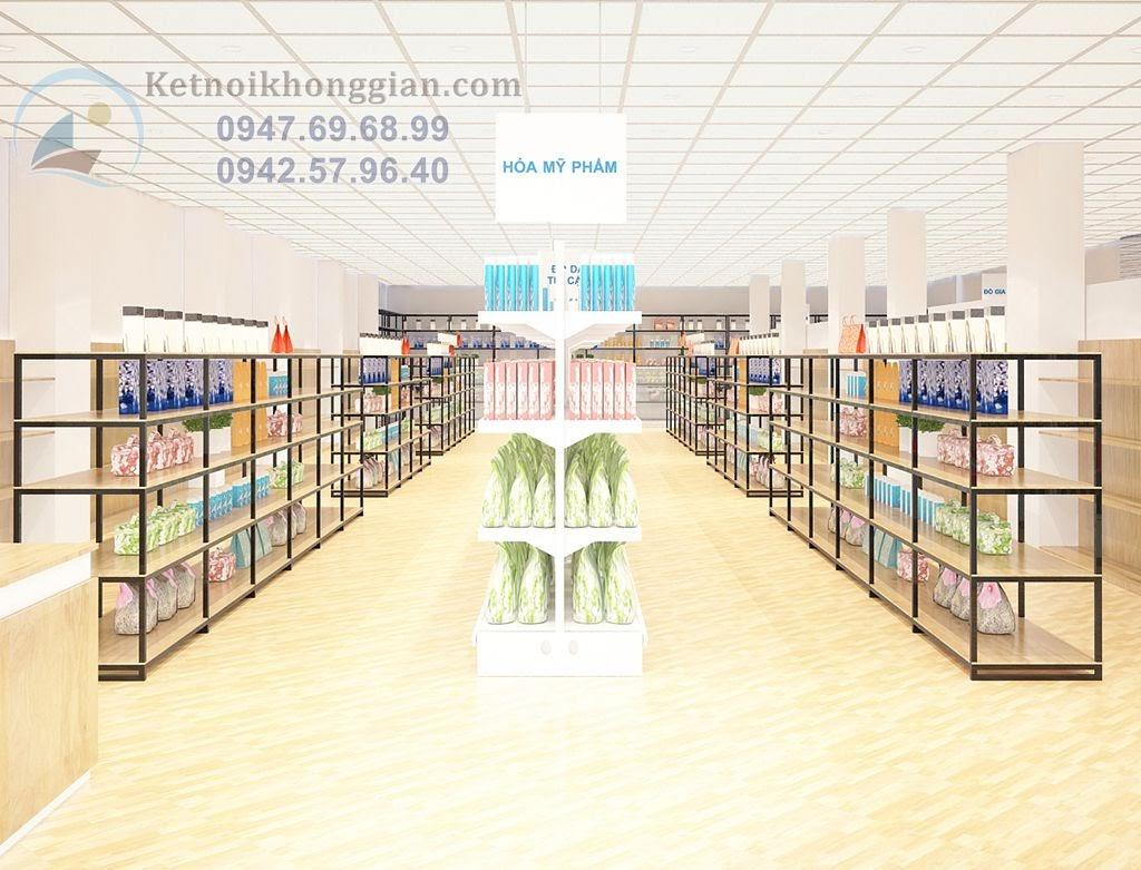 thiết kế siêu thị mini hợp lý với màu đen - trắng