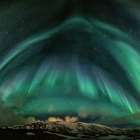 The Aurora umbrella by Bragi Kort - Landscapes Starscapes ( iceland, night photography, northern lights, aurora borealis, long exposure, panorama,  )