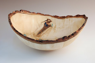 "Photo: Richard Webster - Natural-edge Bowl with inlay - 11 1/2"" x 5""  - Maple, Turquoise"