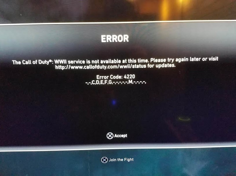 Call of Duty WWII Error code 4220