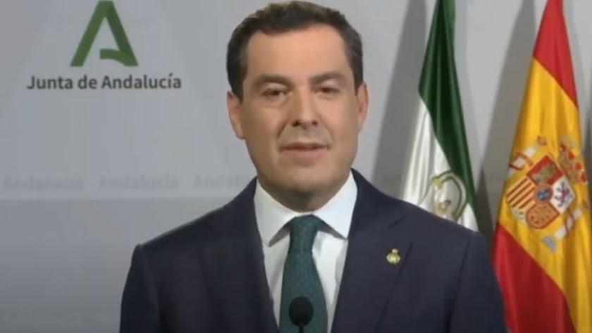 Comparecencia de Juanma Moreno para anunciar las medidas.
