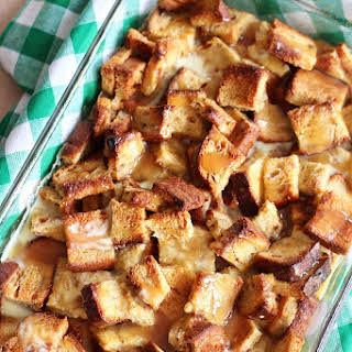 Eggnog Bread Pudding with Butterscotch Sauce.