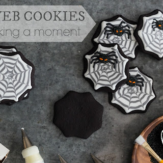 Spooky Spiderweb Cookies with Fuzzy Black Spiders.