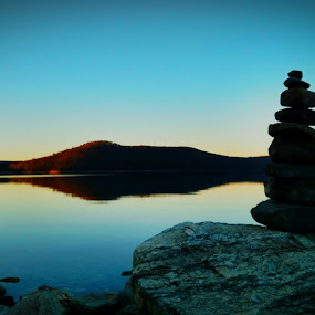 Balanced by Mason Ablicki - Instagram & Mobile Android ( water, balance, quabbin, tower, android, silhouette, rock tower, rocks, photography )