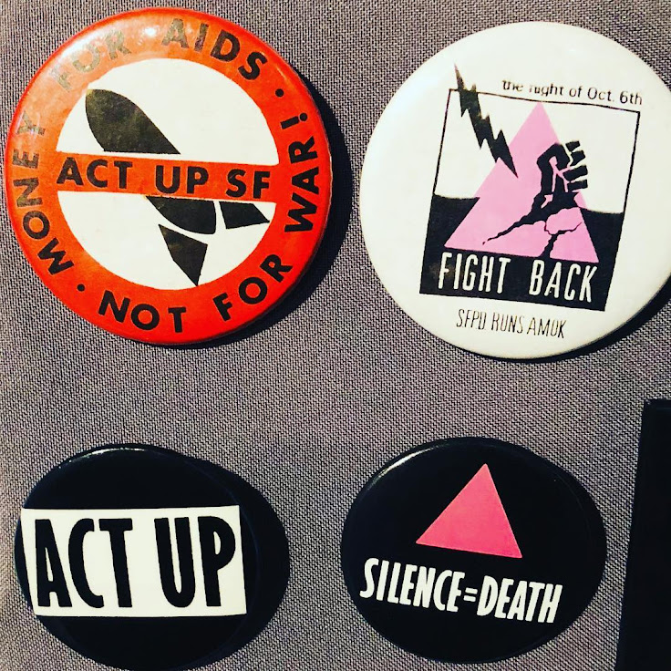 Buttons on display at the GLBT History Museum.