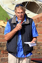 Photo: Mike Brooke OBE, addresses the Bosham Sailing Club in the briefing before their 'Bart's Bash' 2015 event.