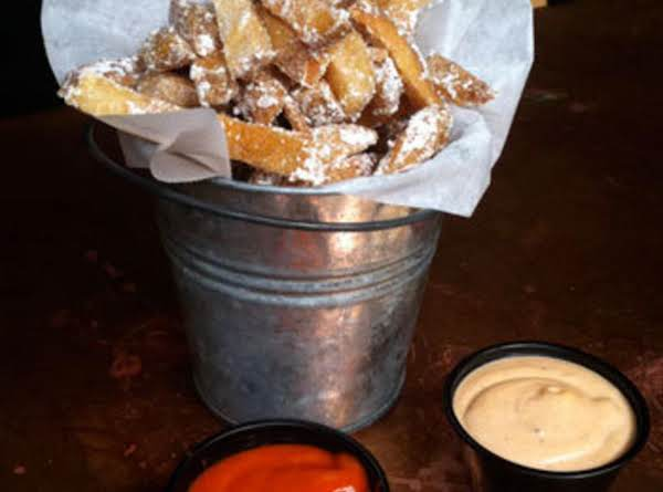 Belgian Fries With Bacon Dust And Chipotle Mayo Dipping Sauce