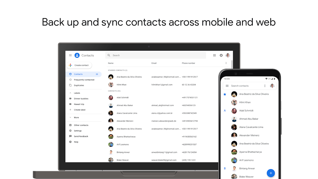 Contacts Android App Screenshot