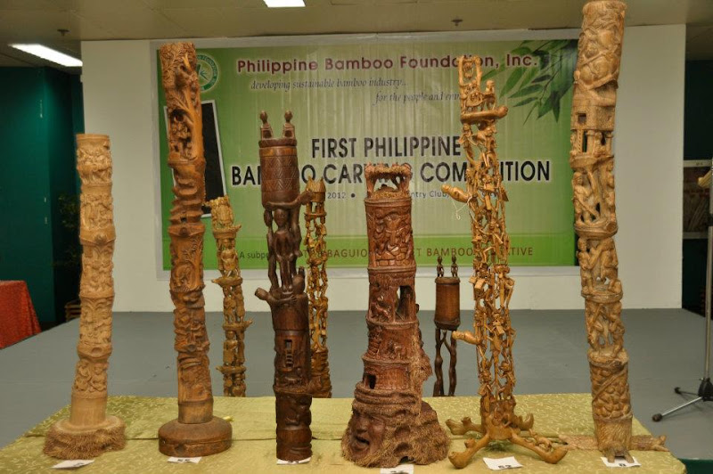 Photo: Check out these masterpieces!  The Bamboo Carving Competition is a pioneering experimental project of the Philippine Bamboo Foundation, advocating bamboo as an alternative medium for the wood carving industry.