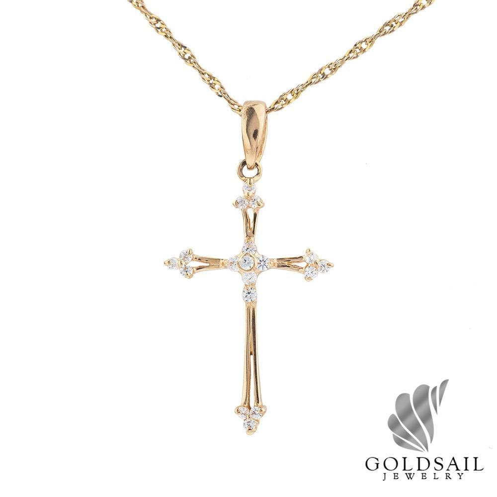 купить золотой крестик фото