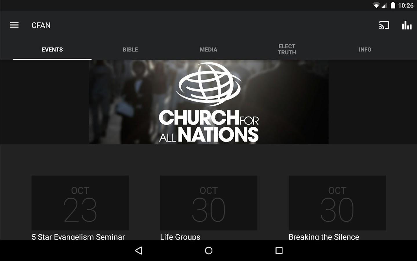 Church for All Nations App- screenshot