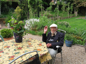 Photo: Harold, soon to be 90, in Jim and Joy Stebbings' garden in Dereham.
