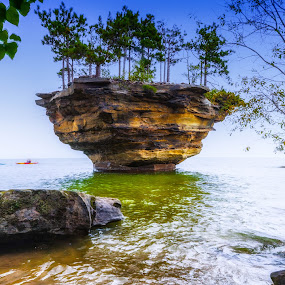 Turnip Rock by Donna Sparks - Landscapes Caves & Formations ( michigan, lake huron, turniprock, kayak,  )