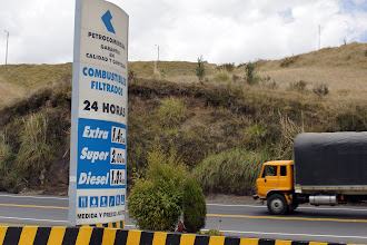 Photo: We stop for gasoline. BTW, those prices are per gallon! Prices in Colombia are almost four times the amount so we are limited to ten gallons lest we smuggle gasoline and sell.