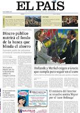 Photo: Dinero público nutrirá el fondo de la banca que blinda el ahorro, Hollande y Merkel exigen a Grecia que cumpla para seguir en el euro, Wert quiere blindar por ley la financiación pública de colegios sexistas, el ministro del Interior se revuelve contra Mayor por el 'caso Bolinaga' y el acercamiento de Egipto a Irán inquieta a Israel y EE UU, entre los titulares de nuestra portada del viernes 24 de agosto de 2012. http://srv00.epimg.net/pdf/elpais/1aPagina/2012/08/ep-20120824.pdf