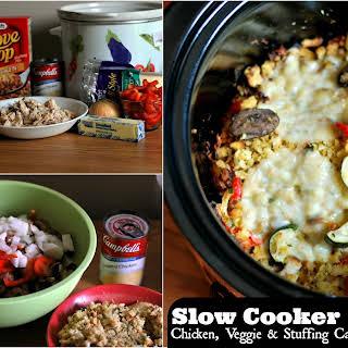 Slow Cooker Chicken, Veggie & Stuffing Casserole.