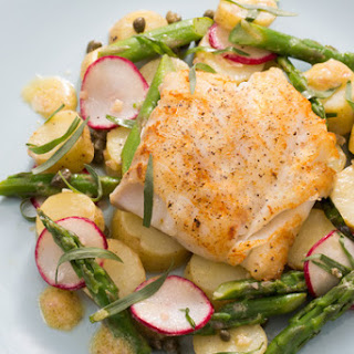 Seared Cod with Spring Vegetables & Lemon-Mustard Vinaigrette