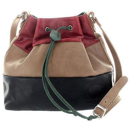 Säckväska röd/brun/svart med blommigt foder