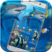 Crazy Shark Theme Blue Sea