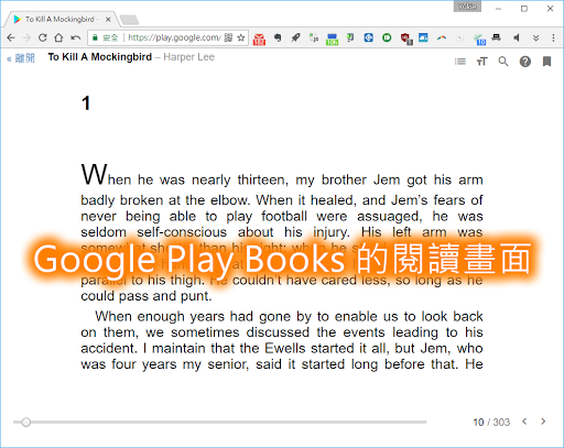 Google Play Books 的閱讀畫面