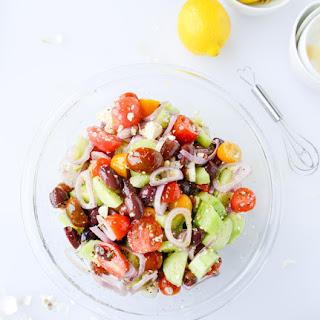 My Favorite Greek Salad with Homemade Whole Wheat Pita Bread.