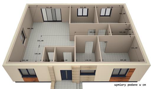 Dom gotowy MP1 - Rzut parteru - wymiary w centymetrach