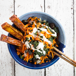 BBQ Tofu and Braised Garlic Kale Bowl with 5 Minute Ranch