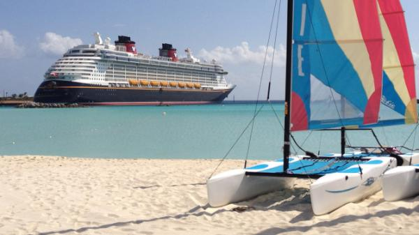 Photo: View of the Disney Fantasy from the beaches of Castaway Cay, Disney's private island exclusively for cruises.