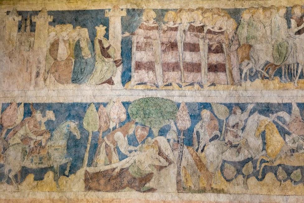 średniowieczne malowidła w Wieży Książęcej w Siedlęcinie przedstawiające legendę o sir Lancelocie z Jeziora