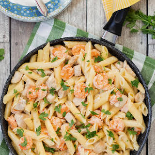 Chicken and Shrimp Alfredo Pasta.