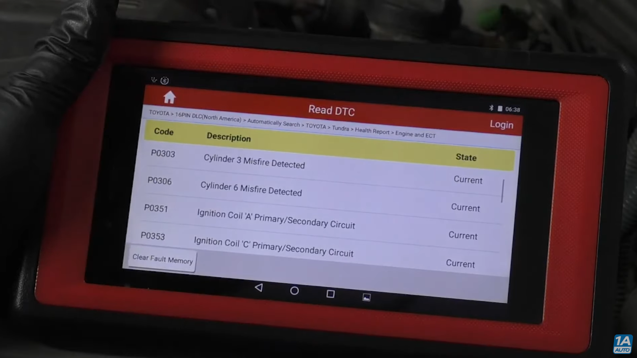 OBDII reading Misfire/Common trouble code