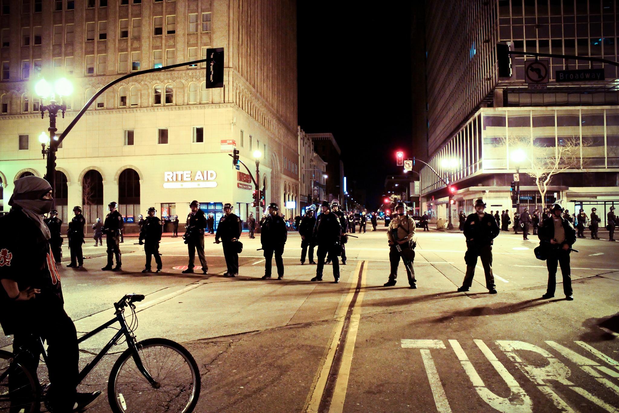 Photo: Occupy Oakland standoff by Joe Sciarrillo