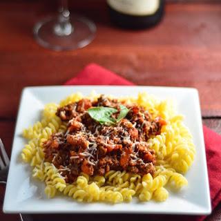 Bolognese Sauce over Fusilli