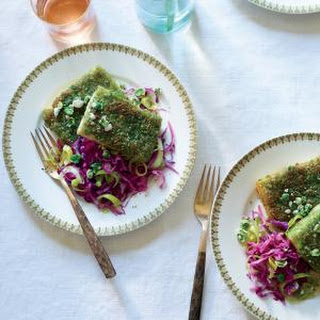 Wasabi Pea Tofu with Red Cabbage and Leeks.