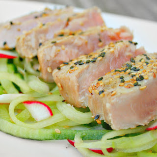 Grilled Tuna Steak with Wasabi Soy Drizzle.