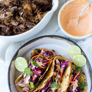 Five Spice Pork Tacos (or Pulled Beef) with Asian Slaw and Sriracha Aioli.