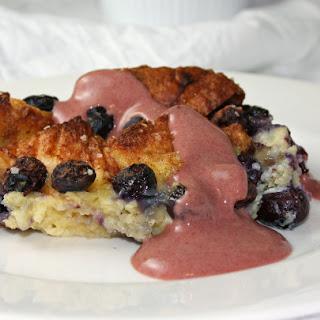 Blueberry and Brioche Bread Pudding.