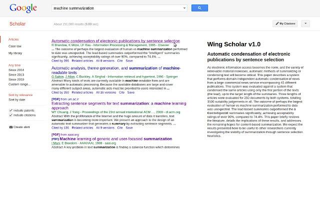 Wing Scholar summary add-on