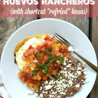 "Huevos Rancheros (with shortcut ""refried"" beans)"