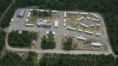 Photo: Oblique aerial view of Camp Edwards MOUT training site, used to simulate a disaster-struck neighborhood.